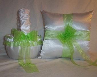 White Satin With Apple Green (Lime) Ribbon Trim Flower Girl Basket And Ring Bearer Pillow Set 1