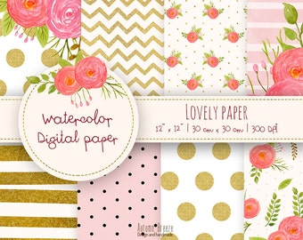watercolor digital paper pack, pink and gold digital paper, floral digital paper, digital scrapbooking, Printable papers, flower printable
