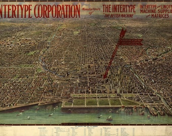 Bird's Eye View of Chicago, Central Business District (1916) Panoramic Gallery Wrapped Canvas Wall Art Print