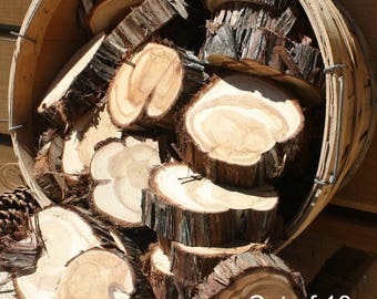 Rustic Wedding Decor, set of 10, wood circles, small wood slices with bark, outdoorsy table decor, Texas cedar circles, table scatter, craft