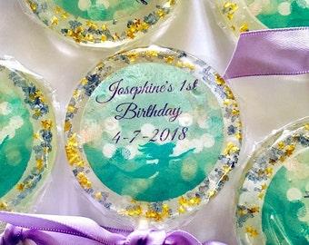 Mermaid Birthday Lollipops- Hard Candy lollipops- Birthday-Bridal Shower- Quinceañera-Sweet Sixteen-Babyshower