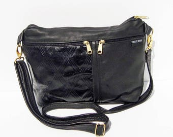 Black Genuine Leather Medium Purse with Gold Hardware
