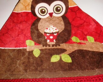 Owl and Cupcake Crochet Top Hanging Kitchen Towel