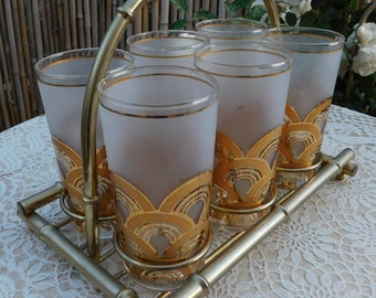 Vintage 1940-50s Hollywood Regency Culver 22K Gold Cocktail Tea Glasses Metal Bamboo