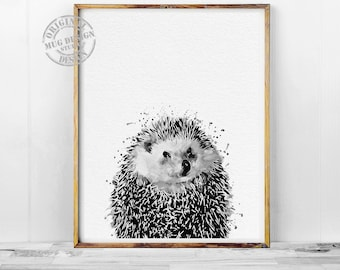 Black and White Hedgehog Print, Hedgehog Watercolor Painting, Watercolor Print, Watercolor Painting, Hedgehog Art, Hedgehog Wall Art, Poster
