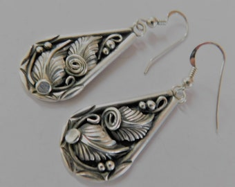 On Hold for RD.....Vintage Sterling Silver Feather Dangle Drop Earrings Southwest Native American Indian