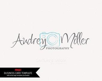 Photography logo - Premade logo design - Camera logo watermark - DIY psd logo script font included