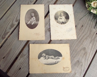 Vintage Baby Pictures - Cabinet Photographs - Set of 3 - French Babies - Kid Portraits - Black & White Pics - Art Craft Supplies