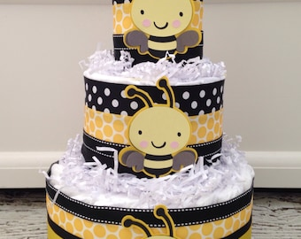 Designer Bumble Bee Baby Shower Diaper Cake, Bee Theme Baby Shower Centerpiece, What will it Bee Reveal Decoration