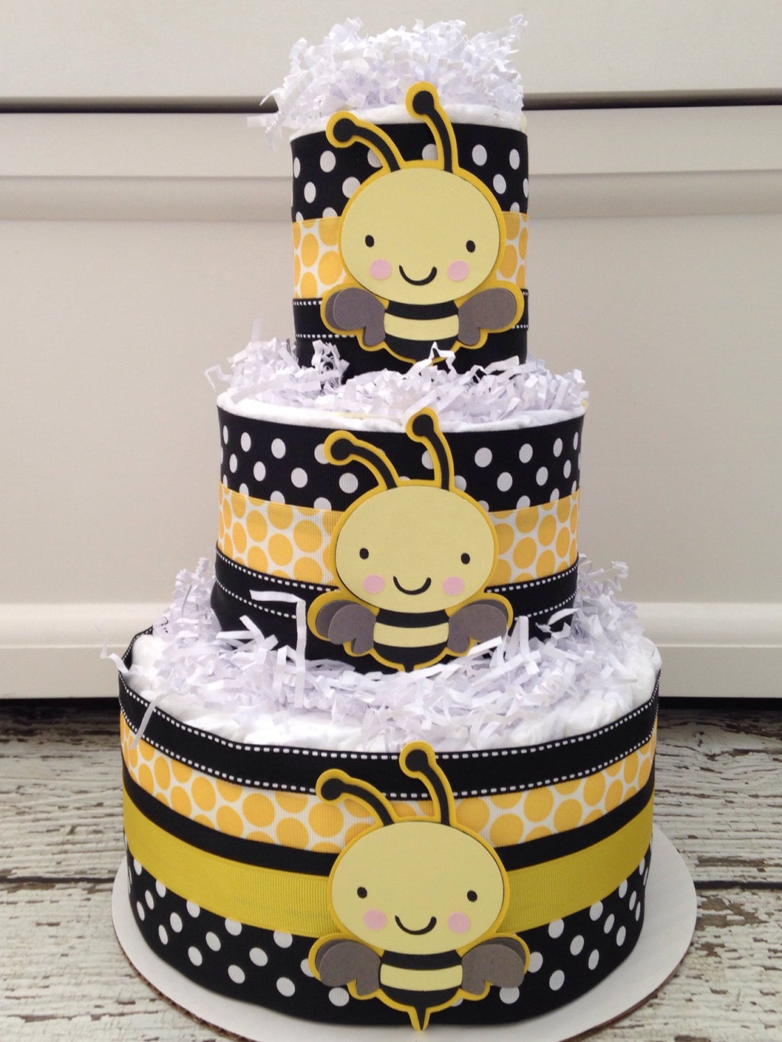 Designer Bumble Bee Baby Shower Diaper Cake Theme