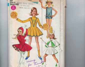 1960s Vintage Sewing Pattern Simplicity 7937 Girls Juniors Majorette Ice Skater Cheerleader Costume Size 10 9/10 11/12 13/14 1968 60s