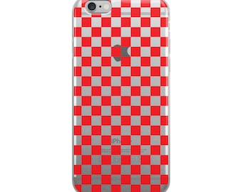 Red Checkerboard Pattern iPhone Case