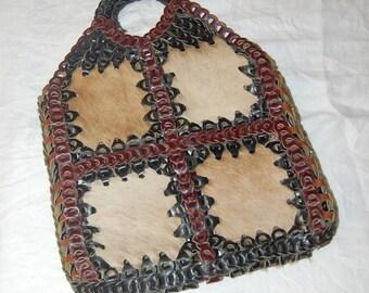 Summer of Love Pony Fur Leather Hippie Handbag Vintage 60's Ultra Rare Huge Fashionable Purse