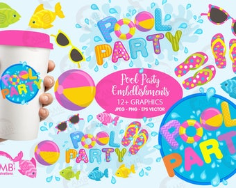 Pool Party Clipart, Titles and Embellishments, Pool Party Invitations, Birthday Party Clipart, Commercial Use, AMB-902