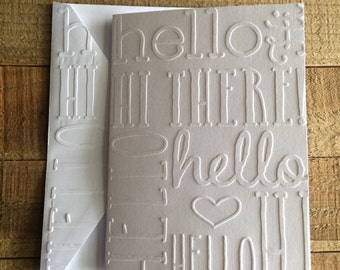 Hello Hi There Card,  White Embossed Note Cards, Greeting Cards, Stationery Set, Friendship Card, Blank Note Cards