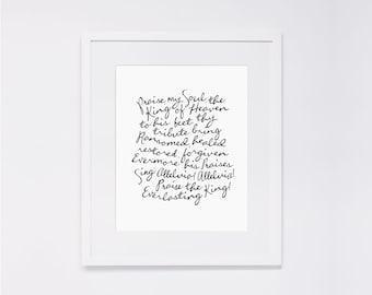 "50% Off! Praise, My Soul, the King of Heaven  |  8x10"" Calligraphy Print, Home Decor, Hymn Print, Hymn Art Print, Wedding Gift, Gallery Wall"