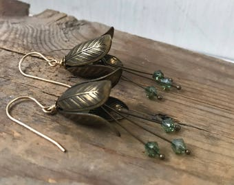 Brass Petal Earrings with Olive Crystal Brass Jewelry Flower Jewelry Shabby Chic Spring Bridal Jewelry Bridesmaid Earrings Gifts Under 40