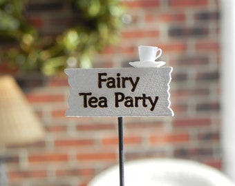 Fairy Garden accessories sign miniature Fairy Tea Party, accessory for miniature garden or terrarium, handcrafted sign, mini tea cup saucer