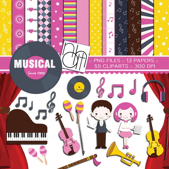 Musical Instrumental Music Class Clipart Sticker Invitation