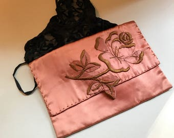Beautiful Hand-made Vintage Pink Satin Lingerie Bag with Appliqué and Hand-embroidered Detailing
