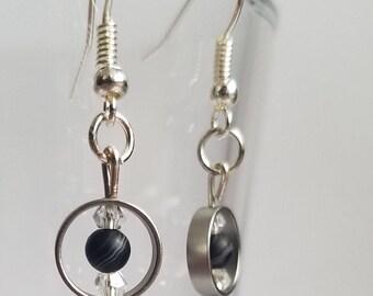 Black Onyx and Czech Glass Pendant Earrings