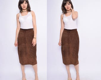Vintage 90's Suede Leather Brown Skirt / High Waist Suede Pencil Skirt - Size Medium