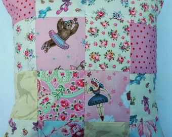 BALLET rose shabby chic quilted  patchwork cushion  pink blue designer fabric