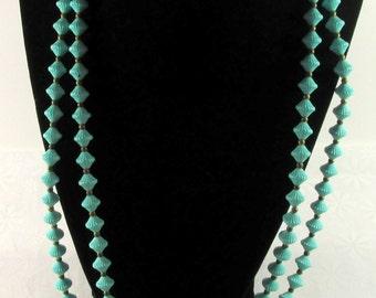 Seafoam Green Beaded Vintage Necklace & Earring Set