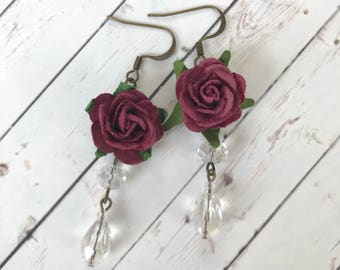 Burgundy Red Flower and Crystal Earrings // Bridesmaid Gift Idea // Romantic Jewelry for Her