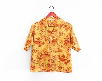 vintage button up shirt / Aloha shirt / palm trees / 1950s souvenir loop collar Hawaiian shirt Medium