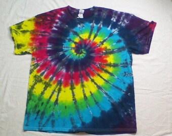 Tie Dye Rainbow Spiral with Black - XL - Ready To Ship