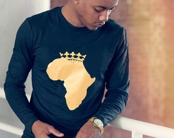 Luxury Electric Gold Printed Long Sleeves T-shirt