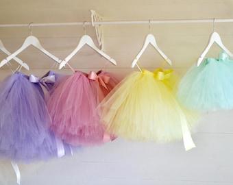 Pastel colour tutu, baby girls tutu skirt, girls tutu, flower girl tutu skirt, princess tutu, first birthday tutu, tulle skirt, toddler tutu