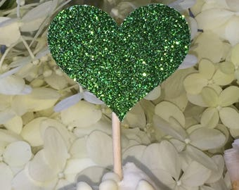 120 Heart Cupcake Toppers Cake Toppers Sparkling GREEN HEARTS Wedding Emerald Cake Decorations Food Picks