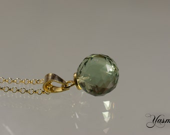 Faceted Prasiolite 925 Silver gold plated