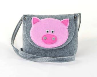 Girl's Purse, Child's Bag, Kids purse, felt bag, felt purse handbag cross body grey with pig piggy piglet