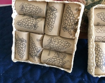 Wine Bottle Corks and Crochet Lace Boxed Coaster Set