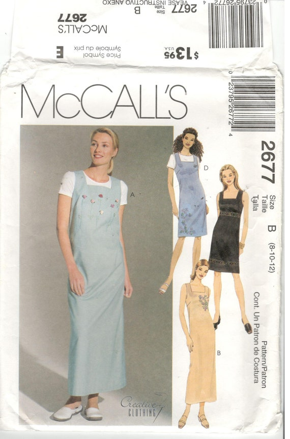 McCall\'s 2677 Size 8, 10, 12. Women\'s sleeveless dress / jumper with ...