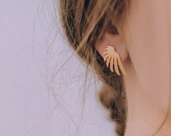 Wings Earrings, Wings Post Earrings, Bird Wing Studs, Leaf Stud Earrings, Gold Leaf Studs, Laser Cut Earrings,