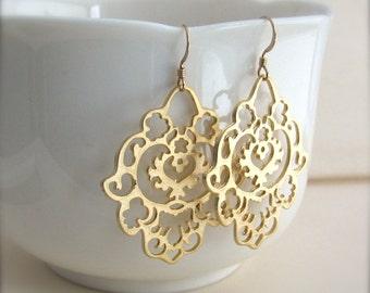 Gold Bohemian Earrings, large gold earrings, east indian earrings, silver or gold - 14k Gold Fill or Sterling Silver Ear Wires