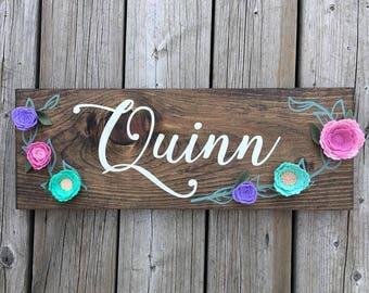 Personalized Wood Sign, Felt Flowers, Custom, Girls Room, Nursery Decor, Rustic, Farmhouse, Gallery Wall