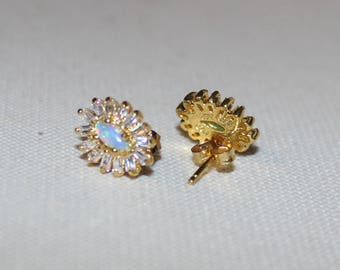 Opal and 925 with a Gold Wash Earrings