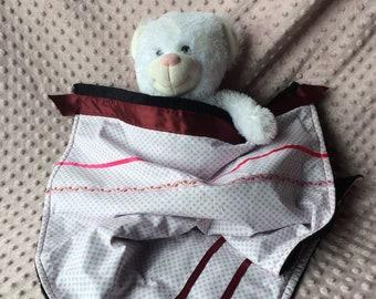Blanket, baby girl black velvet plaid and polka dots