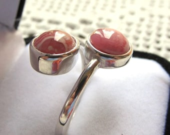 Sterling Silver Bypass Ring with Twin Rhodochrosite Cabochons