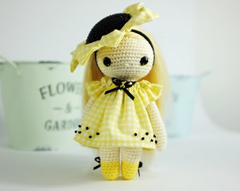 Yellow Ladybug. Amigurumi crochet doll. Handmade doll with clothes. Soft doll. Textile doll. Collectable doll