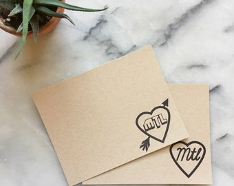 I Heart Montréal Note Cards, Set of 8 Flat Letterpress Cards with Envelopes