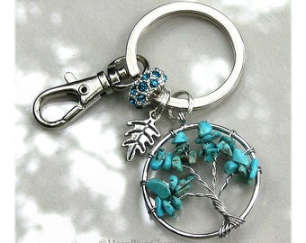 Tree Of Life Keychain Gemstone Turquoise Tree Of Life Charm Purse Clip On Custom Personalize Birthstone Crystal Charm Gift For #K1136