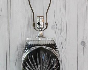Vintage Unique Dresden Crystal Black Starburst Design Table Lamp by Peck, Vintage Crystal Lamp