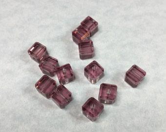10 SWAROVSKI AMETHYST CRYSTAL Cubes