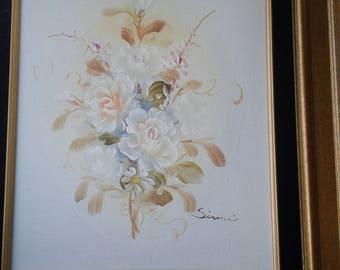 Vintage Floral Still Life On Canvas/ Signed/  Certification